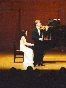 Violin virtuoso Pavel Eret with pianist Emiko Morimoto, 2001