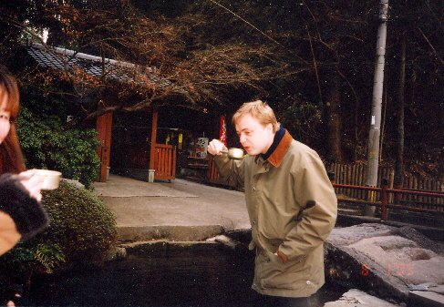 Violinist Pavel Eret in a Buddhist shrine otera, 2000